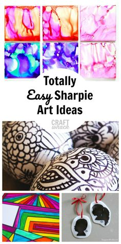 Sharpie art ideas #sharpie #coolsharpieideas Arts And Crafts For Teens, Art Projects For Teens, Arts And Crafts Projects, Art For Kids, Crafts For Kids, Project Ideas, Diy Projects, Kids Fun, Sharpie Art Projects