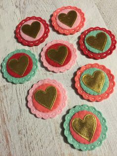 Metallic Gold Hearts - Valentine Heart Coins Wool Felt Coral Mint - set of 8 by AMarketCollection on Etsy https://www.etsy.com/listing/216633591/metallic-gold-hearts-valentine-heart
