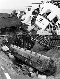 One-hundred fifteen to 120 people were killed, mostly due to falling debris as they ran out of buildings. The magnitude quake struck a few minutes before 6 PM local time. Long Beach California, California History, Southern California, Los Angeles Area, San Luis Obispo, Natural Disasters, Back In The Day, Historical Photos, Old Town