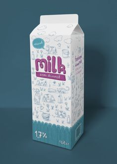 milk packaging - concept and illustration by Sascha Morawetz - milk, milch, package, cow, kuh, verpackung, wimmelbild, type