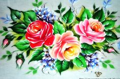 Pintura em Tecido � Rosas