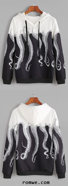 Black White Octopus Print Drawstring Hooded Sweatshirt