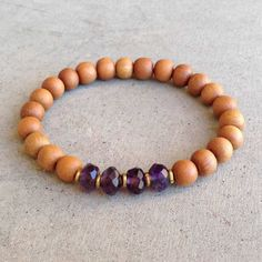 "Sandalwood and Amethyst ""Seventh Chakra"" bracelet. #chakrajewelry #amethyst #purple"