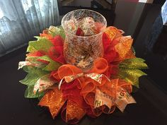 Made with a wire wreath, chenille stems, deco mesh, and ribbon. Handmade Fall/Autumn Deco Mesh Centerpiece/Candle Holder in Harvest Multicolor. Add a little sparkle to your table with this cute centerpiece. | eBay!