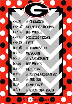 2014 schedule - Gooooo DAWGS!!!