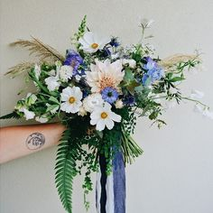 bright white and blue bouquet