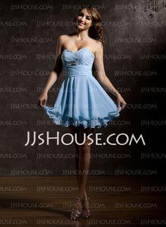 A-Line/Princess Sweetheart Short/Mini Chiffon Homecoming Dress With Ruffle Beading (022010872)