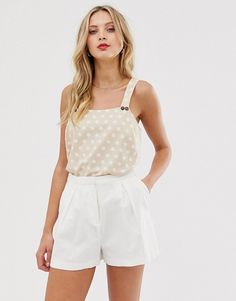 Buy ASOS DESIGN sleeveless sun top with button detail at ASOS. With free delivery and return options (Ts&Cs apply), online shopping has never been so easy. Get the latest trends with ASOS now. Satin Blouses, Women's Blouses, New Look Tops, Asos, Long Sleeve Wrap Top, Square Neck Top, High Neck Top, Girls Blouse, Short Tops