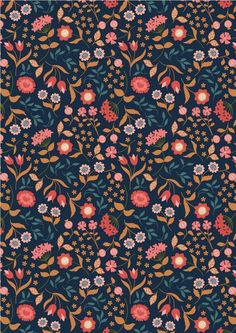 Chieveley - Country House Floral On Darkest Blue Lewis & Irene Patchwork Quilting Fabric Paper Design, Fabric Design, Whatsapp Background, Nature Prints, Illustrations, Surface Pattern Design, Background Patterns, Pattern Paper, Flower Prints