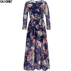 Women Chiffon Dresses New Arrivals Long Sleeve O-neck Spring Summer Dress Fashion Maxi Long Plus Size Women Clothing L-6XL