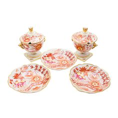 English Antique Porcelain Barr Flight Barr Sweetmeat Dishes