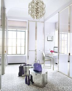 Dressing Room: Cabinetry is lacquered in a custom lavender; desk and chair by Jansen; stools by Silas Seandel; Lobmeyr light fixture from the '60s; custom-made carpet by Beauvais Carpets