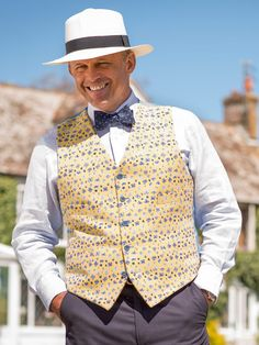 279e47bb5fe ... latest in our ever expanding range of waistcoats is a pleasing Summer  floral brocade number with a sky blue satin back. This is a limited edition  so get ...