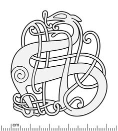 Illustration of the bronze cast Urnes style openwork brooches from Roskilde and Kiaby. The brooch displays a single animal with an extraordinary neck tendril intertwining the body. Their genesis is at least originally of the same mold (as illustrated. Viking Designs, Celtic Designs, Anglo Saxon Clothing, Vikings, Medieval Embroidery, Embroidery Ideas, Brooch Display, Viking Pattern, Norse Tattoo