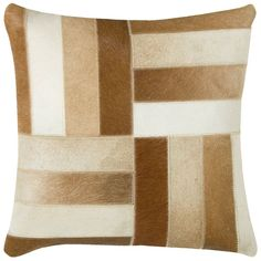 Cowhide Accent Pillow Cover (Brown ) (T03977)