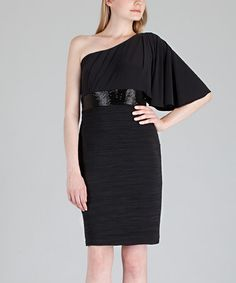 Take a look at this Black Asymmetrical Beaded Dress by JS Boutique on #zulily today!
