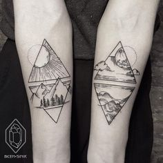 Tattoos geometric earth tattoo, geometric mountain tattoo, geometric tattoo l Black Tattoos, New Tattoos, Body Art Tattoos, Tattoos For Guys, Tatoos, Modern Tattoos, Tribal Wave Tattoos, Verse Tattoos, Trendy Tattoos