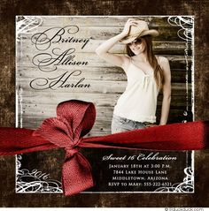 Barnside Sweet 16 Photo Card - Rustic Red & Brown