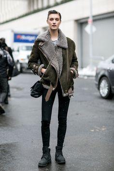 Parisienne: oversize shearling motorcycle jacket
