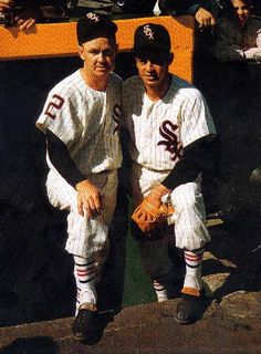Fox and Aparicio before Game One. Great view of special socks White Sox wore in Games 1-4.