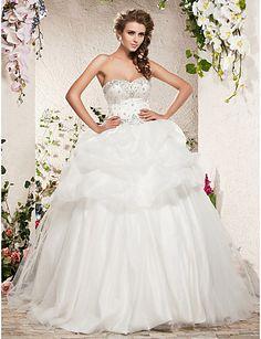 Ball Gown Sweetheart Sweep/Brush Train Satin Tulle Wedding Dress