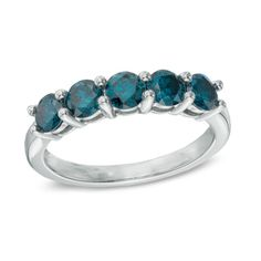 1 CT. T.W. Enhanced Blue Diamond Five Stone Anniversary Band in 14K White Gold