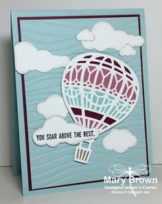 HELLO everyone! Oh…I'm so excited today! Not only am I going to share with you a card made with the really cool, brand new Lift Me Up set and matching Up Away Thinlits but becau… Going Away Cards, Up Balloons, Air Balloon, Craftwork Cards, Scrapbooking, Congratulations Card, Stamping Up, Homemade Cards, Stampin Up Cards
