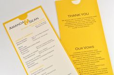 EILA - Modern Ceremony Program - (Sample) - Yellow, Gray, Ivory. $2.75, via Etsy.
