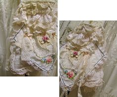 Shabby cotton linen bag handmade eco friendly with upcycled vintage lace and fabrics. Bag is made with vintage linen pieces that give it a warm, cozy feel. Laces and linens are mostly in dull white and ivory colors. The body is made with a vintage embroidered linen with a crocheted border trim. Over this drapes a vintage hankie or cloth napkins that has sweet floral embroidery cross stitchings. Other embellishments include a vintage lace trimmings, a small tattered crocheted applique, small…