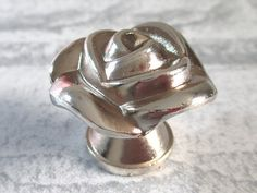 Silver Rose Knob Dresser Knobs Pull Drawer Knobs Kitchen Cabinet Knobs Hardware by LynnsGraceland, $5.50