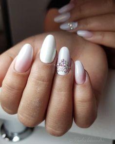 Indigo Nails, Almond Nails, White Nails, Love Nails, Wedding Nails, Manicure, Babe, Shapes, Beauty