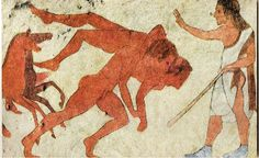 Wrestlers, Tomb of the Monkey, Chiusi, ~480 B.C. More funeral games are displayed here in celebration of the dead hero. Along with wrestling, which is being judged here, there would be chariot races. Funeral games are also the theme in the Tomb of the Chariots in Tarquinia.