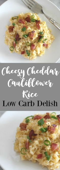 Low Carb Meals Cheesy Cheddar Cauliflower Rice - Low Carb Delish - Cheddar Cauliflower Rice is a quick side dish that tastes great and is perfect for a weeknight. With only net carbs per serving, it is great for keto and low carb diets. Low Carb Diets, Quick Diets, Quick Keto Meals, Paleo Meals, Paleo Food, Healthy Meals, Healthy Food, Ketogenic Recipes, Low Carb Recipes