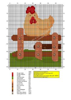 Poule sur barriere (Chicken on a Fence), designed by Corinne Thulmeaux, Passion Broderie 77 blogger.