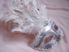 Ice Queen Lace Overlay Venetian Mask by BridalBijou on Etsy, $75.00