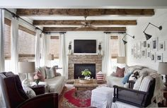 exposed wood beams - would love to make this happen in my kitchen/family room area