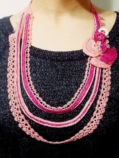 Pink Necklace Beaded Crocheted Statement Necklace by SESIMTAKI