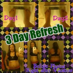 1st Day of 3 Day Refresh 6/24/14, Workout last night was first day of PiYo. Since we got instruction during our live workout in Vegas with Chalene Johnson we skipped fundamentals and did Define Lower and Sweat. I'm so sore already, omg!! Also, first day of 3 Day Refresh done!! It went pretty well. I want hungry, food was awesome, want tired or low on energy. Weighing in now...loss of 3.3 pounds for DAY1!! I really do feel better already...