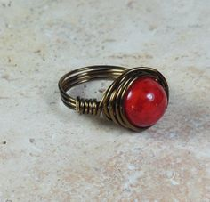 wire wrapped ring red riverstone by MySoulCanDance