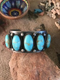 Vintage Navajo Turquoise and Sterling Silver Cuff Bracelet Signed Sterling Silver Cuff Bracelet, Sterling Jewelry, Silver Bangles, Silver Jewelry, Silver Rings, Gold Jewellery, Greek Jewelry, Antique Jewellery, Antique Rings