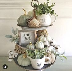 """As I unpacked my fall decor, I thought I'd take a shot at what I'd call a """"neutral"""" fall tray. It still has color but for… As I unpacked my fall decor, I thought I'd take a shot at what I'd call a """"neutral"""" fall tray. Fall Home Decor, Autumn Home, Fall Kitchen Decor, Rustic Fall Decor, Blue Fall Decor, Modern Fall Decor, Fall Entryway Decor, Natural Fall Decor, Kitchen Ideas"""