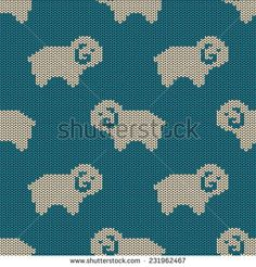 Seamless knitted pattern with funny cute sheep