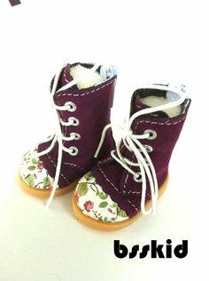 "BJD Yo-SD 1//6 Dollfie 13/"" Effner 12/"" Kish Doll Shoes RED Floral Boot"