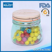500ml,800ml,1500ml,2200ml glass clip lid jars with wooden lid