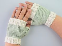two tone fingerless gloves, Prima cotton, my design