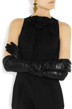 Gucci|Silk-lined long leather gloves|NET-A-PORTER.COM
