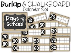 Counting the Days of School - Burlap and Chalkboard