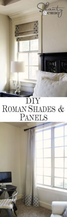 Windows ~ DIY Shades and Panels diy roman shades - use drop cloth and purchase a table cloth, panels or bed sheet with your favorite pattern and add to the drop cloth.very inexpensive and all of your windows can be covered throught you home. Window Panels, Window Coverings, Window Treatments, Shades Window, Curtain Panels, Diy Roman Shades, Diy Curtains, Window Curtains, Black Curtains