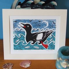 Black Guillemot Lino Print (sea, bird, picture) £15.00