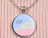 Monogram Pendant, Glass Letter Charm, Custom Initials, Initial Necklace, Monogrammed, Resin Pendant - Geometric, Floral, Pink, Blue, Pastel